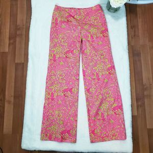 Lilly Pulitzer Pants 6 Wide Leg Pink Green Floral